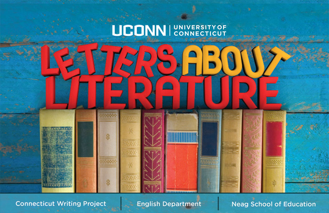 UConn Letters About Literature logo with partners listed: Connecticut Writing Project | English Department | Neag School of Education