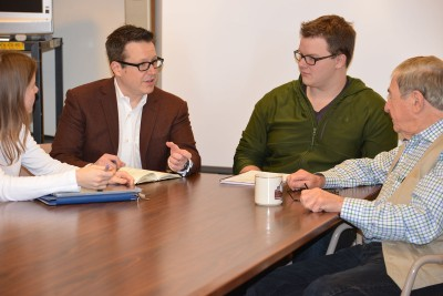 Members of the imagination, creativity, and innovation (ICI) research team discusses the project. Pictured (L-R): Laurel Brandon, Ron Beghetto, Andrew Cochran, and Joseph Renzulli.