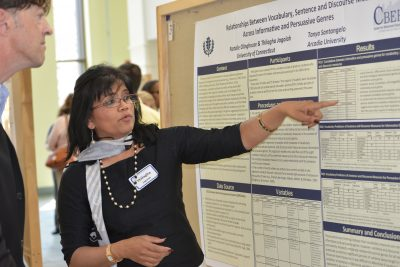 The Neag School of Education hosted the 6th Annual CBER Research Symposium at the UConn Storrs campus. Pictured are Thilagha Jagalan and Michael Coyne.