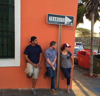 Gabe Castro, Justis Lopez, and Jill Linares, take a moment to reflect while teaching in Puerto Rico. Photo credit: Gabe Castro