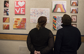 The Higher Education and Student Affairs Program (HESA) hosted an art exhibit in the Student Union on Dec. 12, 2016. (Photo credit: Ryan Glista/Neag)