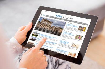Online News Headlines on Tablet