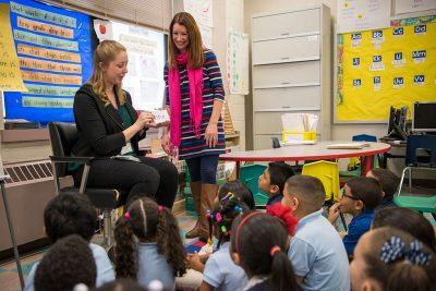 Emily Baseler and Kennelly School teacher Donna Heikkinen
