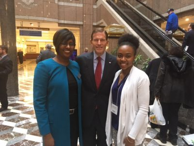 AACTE-CT — Dean Kersaint with Sen. Blumenthal and Symone Jamess