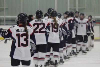Marisa Maccario and UConn Women's Ice Hockey Team