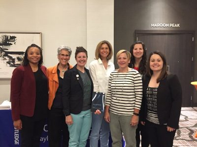 Laura Burton (center) with fellow co-editors of new book, Women in Sport Leadership
