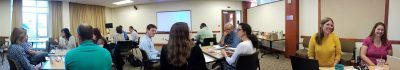 Educational Leadership faculty and staff gather for departmental meeting