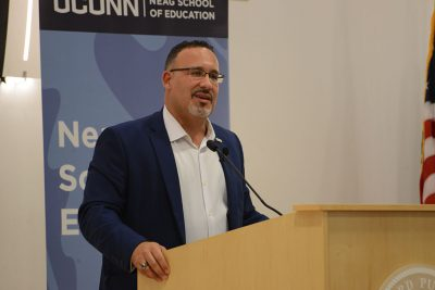 Miguel Cardona speaks at Neag School Educational Leadership Forum in 2017.