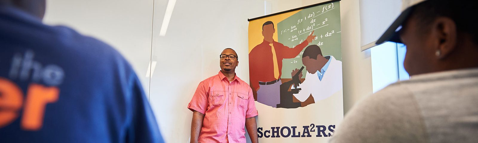 Erik Hines meeting with Scholars House students