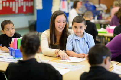 Kimberly Sakmoto student teaching in kindergarten classroom