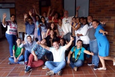 Scott Brown with educators in Colombia