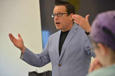 Ronald Beghetto teaches a class for the Innovation House on Aug. 28, 2017.