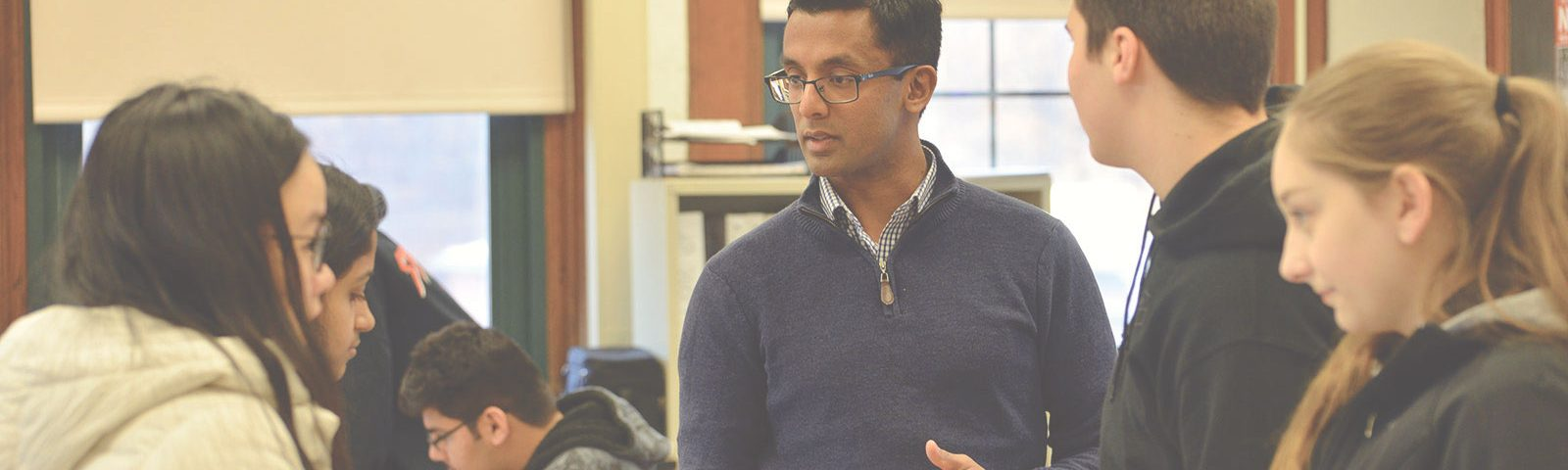 Sushruta Kunnenkeri '18 MA leads a science lesson at Norwich Free Academy this past fall.