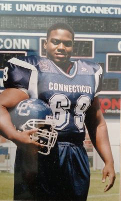 Clewiston Challenger in his UConn football uniform (Photo courtesy of Clewiston Challenger)