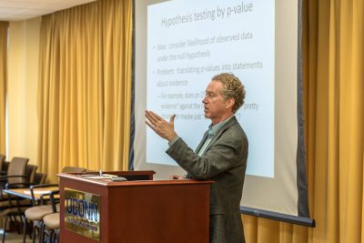 David Weakliem, a professor of sociology at UConn, spoke during the RMME colloquiu