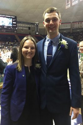 Rebecca Day and Mitchell Simmons, sport management undergraduate students and student managers for UConn women's basketball, were recognized at Senior Night for their help with the program.