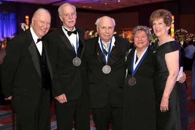 From left: Ray Neag; Dr. Dick Salmon on behalf of Cigna; Richard Lublin on behalf of him and his wife, Jane Lublin; Irene Engel; and Carole Neag at the 2014 White Coat Gala. Engel, the Lublins, and Cigna were the recipients of the Carole and Ray Neag Medal of Honor in April 2014. (Michael Fiedler for UConn Health)