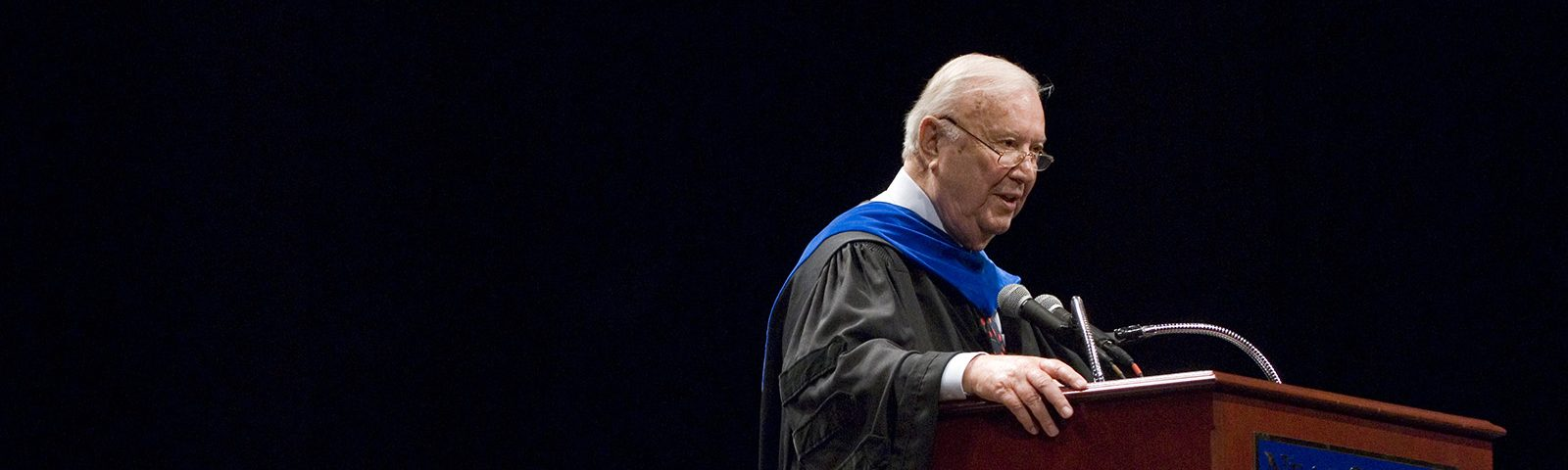 In Memoriam: Ray Neag '56 — Ray Neag gives the address during the 2007 Neag School of Education Commencement ceremony at the Jorgensen Center for the Performing Arts.