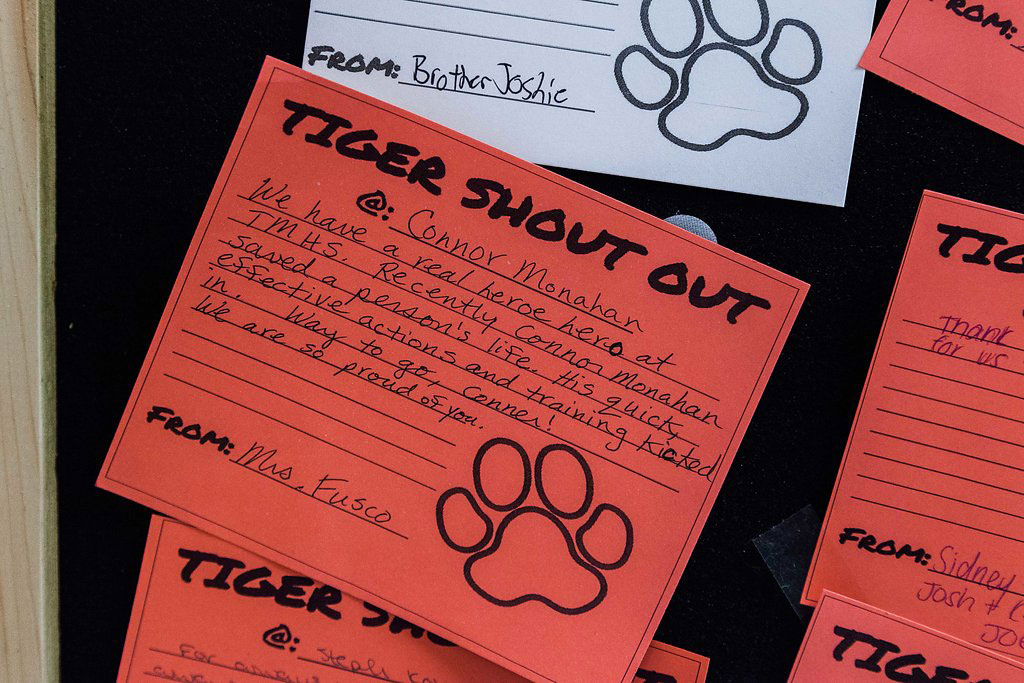 "10:50 a.m. — Monahan's ""Tiger Shout Out"" that appears on a school-wide display board. (Photo credit: Cat Boyce/Neag School)"