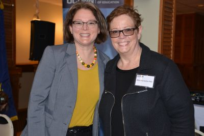 "Sandra Chafouleas, left, with Alice Forrester from the Clifford Beers Clinic; both took part in a panel discussion co-hosted by the Neag School and the Glastonbury Exchange Club on ""Addressing Childhood Trauma in School Settings last month.(Photo credit: Shawn Kornegay)"