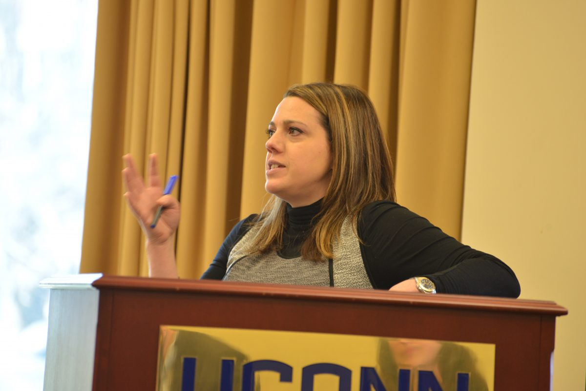 Bianca Montrosse-Moorehead was one of the three panelists at CBER's April Breakfast Brown Bag.