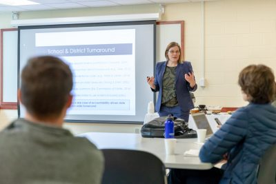 Beth Schueler from Harvard University shared her research findings during a CEPA Speaker Series event.