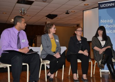 "Panelists from the panel on ""Addressing Childhood Trauma in School Settings."""