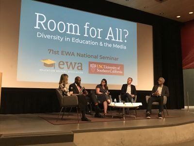 Preston Green, second from left, joins fellow panelists during a discussion at the 2018 Education Writers Association National Seminar. (Photo Credit: Stefanie Dion Jones/Neag School)