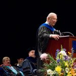 Ray Neag '56 (CLAS) speaks at the Neag School Undergraduate Commencement ceremony in 2007.