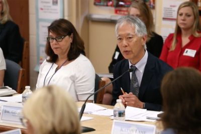 George Sugai speaks with the representatives of the Federal Commission on School Safety about PBIS (Screenshot from U.S. Department Education Livestream)