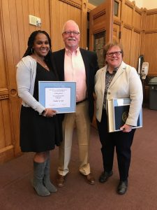 Professor Scott Brown celebrates in Hartford this spring with Tamika La Salle, left, recognized at the Capitol Building with an AAUP Award for Teaching Innovation, and Jaci VanHeest, who received an AAUP Award for University Service. (Photo courtesy of Tamika La Salle)