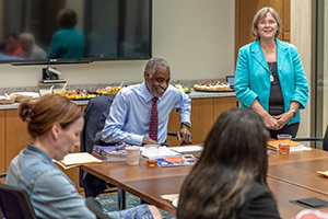 The Neag School of Education's Executive Leadership Program (ELP) hosted a celebration to recognize the completion of the program. The event was held on June 28, 2018 at UConn Downtown Storrs and featured special speaker James Thompson, Bloomfield Public School's superintendent and CAPSS Superintendent of the Year. Thompson is also a frequent ELP clinical mentor and guest instructor.