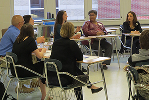 Teachers, parents, and community members gathered at E.O. Smith to participate with the Campus Dialogues Fellowship.