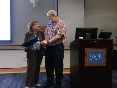 Florence Denmark, a legendary psychologist and former president of the American Psychological Association, presented Professor James Kaufman with the Florence L. Denmark Award this past May in New York, N.Y. (Photo courtesy of James Kaufman)