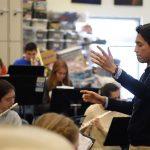 Jesús Cortés-Sanchez conducts at William Hall High School (Credit: Joe Columbatto)