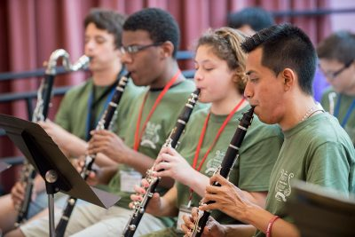 Jesús Cortés-Sanchez '18 (ED), '19 MA playing clarinet at Morse Academy (Photo credit: Matthew Fried)