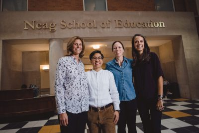 Jane Nguyen, second from left, is one of the 2018 Global Sports Mentoring Program Emerging Leaders. She is being hosted at the Neag School this month by mentors Laura Burton, Jennifer McGarry, and Danielle DeRosa. (Photo credit: U.S. Dept. of State in cooperation with University of Tennessee Center for Sport, Peace, & Society. Photographer: Jaron Johns)
