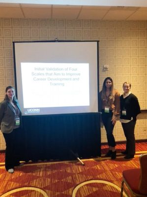 Educational psychology doctoral students put together a symposium at Northeastern Educational Research Association using their instrument development projects. From left, Briana Hennessy '12 (CLAS), '13 MA; Brittney Hernandez; and Elizabeth McKay '10 6th Year. Not Pictured: Sarah Wilkinson.