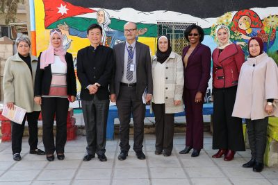 Dean Kersaint and Yuhang Rong visit Jordan in November 2018 to connect with Queen Rania Teacher Academy, as well as educators, administrators, and students, to learn more about the success of the Academy's implementation of a principal training program based on UCAPP. (Photo courtesy of Queen Rania Teacher Academy)