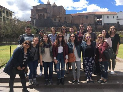 Pictured are Neag School students in front of the Qorikancha temple, an important Inca site in Cusco that the Spaniards later constructed a church on top of. Included are all eight Neag School students, along with a few other students on the Center for International Studies (CIS) semester abroad program in Cusco.