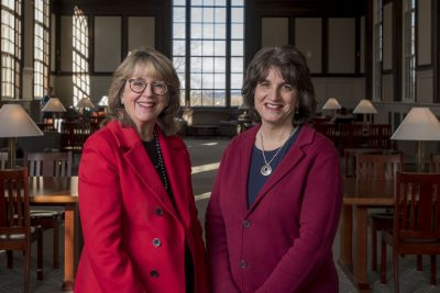Board of Trustees Distinguished Professor Sally Reis, left, and Rachel Rubin, chief of staff to the president, in the South Reading Room at Wilbur Cross Building. Reis and Rubin will lead the BOLD initiative to develop female student leaders at UConn. (Sean Flynn/UConn Photo)
