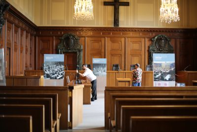 Ken Thompson, assistant professor-in-residence of game design, taking 3D Scans of Courtroom 600 in the Justizpalast in Nuremberg, Germany. (Photo courtesy of Ken Thompson)