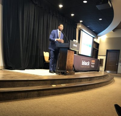 "Doctoral student Donald McAulay presents ""Overtime Academy: Youth Student-Athlete Model"" at the 2019 Black Student Athlete Summit in Austin.(Photo courtesy of the Black Student-Athlete Summit)"