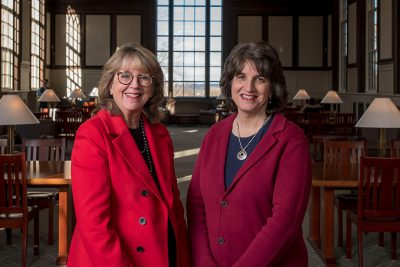 Board of Trustees Distinguished Professor Sally Reis, left, and Rachel Rubin, chief of staff to President Susan Herbst, will lead the BOLD Women's Leadership Initiative at UConn. (Sean Flynn/UConn Photo)