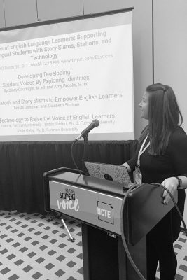 Elizabeth Simison '04 (CLAS), '08 MA and Tessla Donovan '15 (CLAS), '17 MA presented at the National Council of Teachers of English's national conference in Houston in November. The presentation was based on a summery program they built for Miss Porter's School, based in Farmington, Conn.