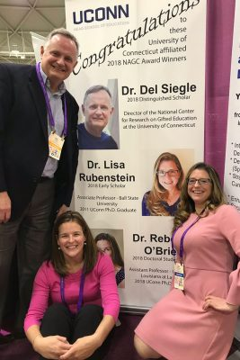 Photo caption: Del Siegle, Rebecca O'Brien, and Lisa Rubenstein (l-r) were each recognized with awards at the National Association of Gifted and Talented's national conference in November. (Photo courtesy of Catherine Little)