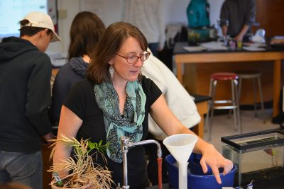 Here, Bonnie Johnston '18 MA, alum and former Noyce Scholar in the Neag School's Teacher Certification Program for College Graduates, leads an environmental science class at Norwich Free Academy in Norwich, Conn. (Stefanie Dion Jones/Neag School)