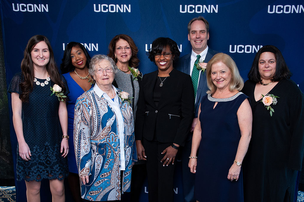 From left, Victoria M. Schilling, Deidra Fogerty, Rachel McAnellen, Maureen Ruby, Dean Gladis Kersaint, Craig Cooke, Carla S. Klein, and D. Betsy McCoach at the 2019 Neag School Alumni Awards Celebration in Storrs this month. (Roger Castonguay/Neag School)