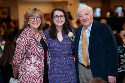 Jessica Stargardter '16 (ED), '17 MA, winner of the 2019 Rogers Educational Innovation Award, is joined by Board of Trustees Distinguished Professors Sally Reis and Joseph Renzulli at the celebration this month. (Defining Studios)