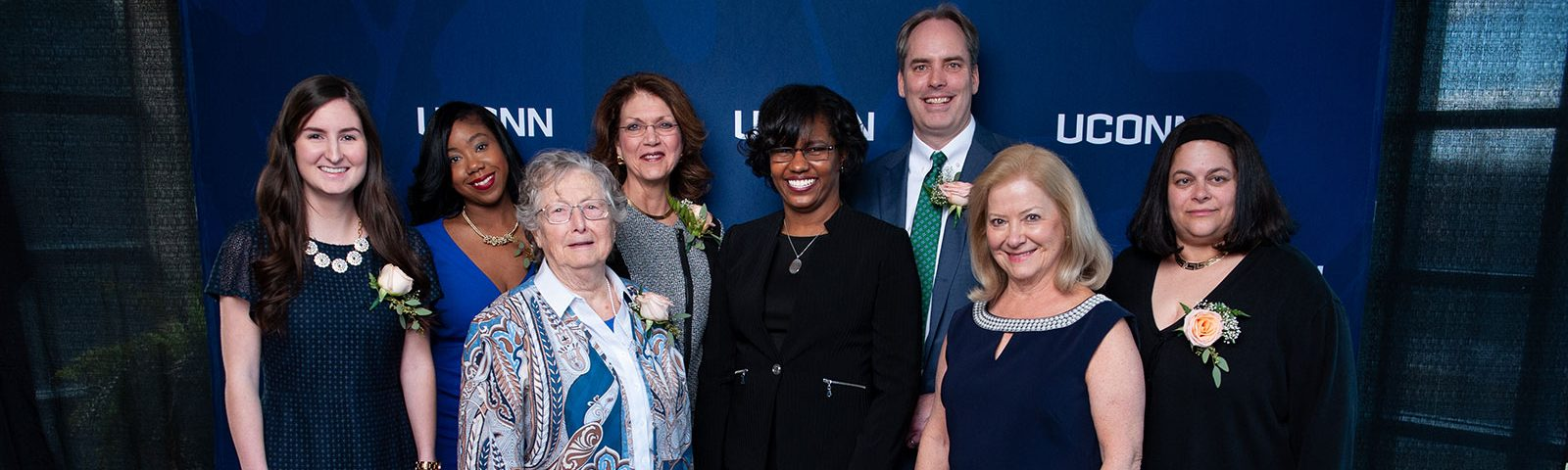 Neag School Marks 21st Annual Alumni Awards Celebration (Dean Kersaint with Seven Awardees for 2019)